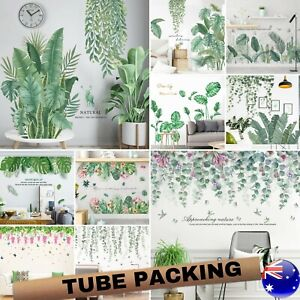 Tropical Green Foliage Leaves Plant Wall Stickers Vinyl Nursery Decor Art Mural