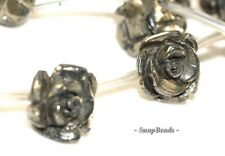 8MM PALAZZO IRON PYRITE GEMSTONE CARVED ROSE FLOWER FLORA 8MM LOOSE BEADS 15.5""