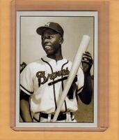 Hank Aaron '57 Milwaukee Braves signature photo card Plutograph serial # /200