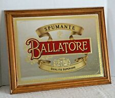 """New listing Vintage """"Ballatore Spumante� Bar Mirror Sign in Wood Frame 18.25"""" X 14.25"""""""