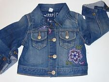 NWT BABY GAP COVENT GARDEN LINE EMBROIDERED JEAN JACKET DENIM CROPPED 3T 3 GIRLS