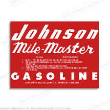 Johnson 1953-1955 6 Gallon Fuel Gas Tank Decals Mile Master Decal Kit - Set of 2