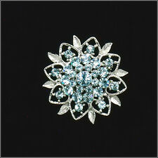 Paved Flower Floral Brooch Pin Pendant Costume Jewelry Crystal Blue Silver Tone
