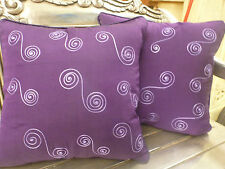 Cotton Cushion Covers Purple Hand Made Swirl Embroidery (pair) 40cm
