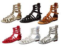 atta-04 Fashion Flats Zipper Buckle Sandals Gladiator Party Beach Women's Shoes