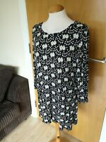 Ladies NEXT Top Size 20 Black Green Stretch Smart Casual Day