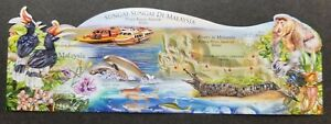 Malaysia Rivers 2018 Wildlife Map Ship Flower Dolphin Pitcher (imperf ms) MNH