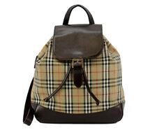 BURBERRY Nova Check Backpack Bag Beige Brown Nylon Leather Vintage Plaid
