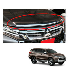 Mitsubishi Pajero Montero Sport Bug Guard Shield Hood Big Chrome on 2016 - 2017