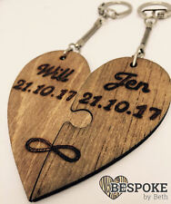 Personalised Wooden Jigsaw Heart Key Ring 5th Anniversary Valentine Wedding Gift