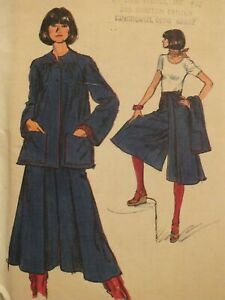 Amazing VTG 70s VOGUE 9389 MS Very Loose Jacket & Culottes PATTERN 12/34B UC