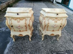Couple Bedside Tables Lacquered Venetians Painted by Hand Xx Century Venice