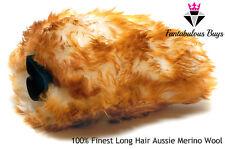 DOUBLE LONG HAIR PILE MERINO WASH MITT SHEEPSKIN CAR LAMBS WOOL HAND LARGE BIG