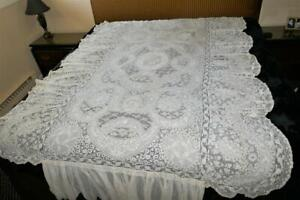 SUPERB ANTIQUE FRENCH NORMANDY MIXED LACE COVERLET BEDSPREAD TWIN SIZE  # 1