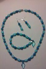 Jewelry Set Handbeaded Turquoise Blue/Silver Necklace/Bracelet/Earrings