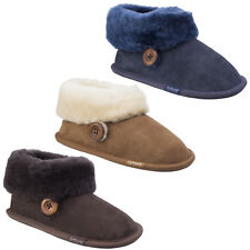 Cotswold Wotton Bootie Sheepskin Slippers Leather Suede Comfort Pull on Ladies