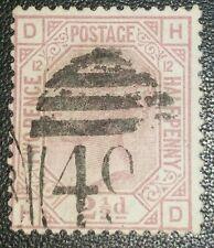 Duzik: Gb Qv Sg141, 2 1/2d. mauve H-D Pl.12 used stamp (No.068) *