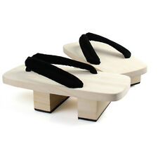 Black Men Adult Wood Yukata Kimono Timber Shoes Cosplay Geta 25cm