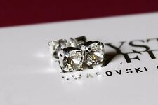 Silver Plated Stud Earrings made with 6mm Clear Swarovski Crystal Elements