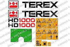 TEREX HD1000 DUMPER DECALS STICKERS WARNING STICKERS AND GREEN DASH STICKER
