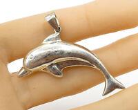 925 Sterling Silver - Vintage Petite Dolphin Detail Pendant - P2577