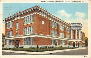 H48/ Petersburg Virginia Postcard 1938 Anna P Bolling Junior High School