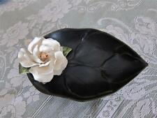 Hobby House San Rafael Ca Black Leaf Shape Rose Pottery Bowl Vintage Collectible