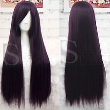 Unisex Long Straight Hair Wig Costume Cosplay Party Black Purple Wig
