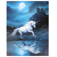 MAGICAL 'MOONLIGHT' UNICORN CANVAS PLAQUE BY ANNE STOKES MYTHICAL HORSE WALL ART