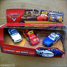 Disney PIXAR Cars TO PROTECT AND SERVE 3PK diecast Driving School Mike Didi McQu