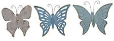 Metal Butterfly Set/3 Blue Turquoise Gray Home Garden Patio Yard Wall Decor 15""