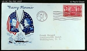 """US SC 791 FDC WITH CACHET """"NAVY HEROES"""" 18 FEB 1937 2¢ ADM DECATUR & MACDONOUGH"""