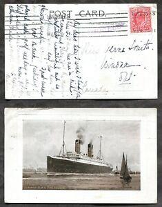 p2014 - GB 1911 Cunard Steamer RMS Franconia Postcard. Paquebot to Canada