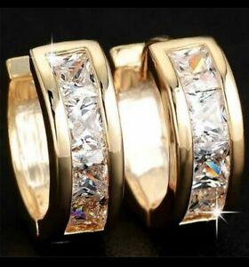 18K Yellow Gold Diamond White Crystal Huggie Hoop Earrings 268