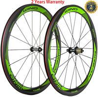 700C Road Bike Carbon Wheels 50mm Depth 23mm Clincher Bicycle Wheelset 3K Glossy