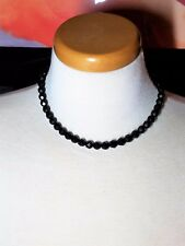 Black Faceted Glass Vintage Necklace Choker