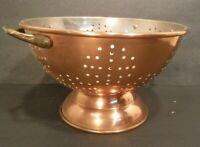 "Vintage Copper Colander Strainer Bowl W/Pedestal & Brass Handles Copper 8.75""Dia"
