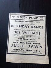 L1-9 Ephemera 1953 Slough Advert Palais Des Williams Julie Dawn Bbc