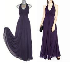 Karen Millen Purple Halterneck Draped Jersey Cocktail Maxi Dress Uk8 Eu36