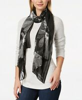 Calvin Klein Womens One Size Graphic Floral Chiffon Scarf A8WS4656 Black $48 745