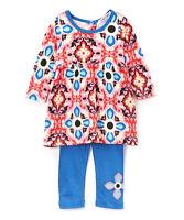 NWT Baby Nay Girls Red & Blue Geometric Frida Tunic Shirt Leggings Outfit 6 12 M