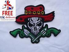 Cráneo Red Hat pistola Hierro-Encendido/Sew-On para motociclista bordada parche