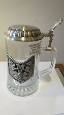 NEW VTG Tags Glass Italy German Beer Stein Pewter M.Cornell Patriotic 4th July
