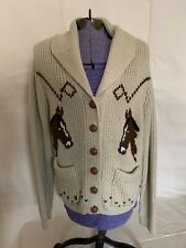Vintage Miller Horse  Design Shawl Collar Cardigan Sweater 70s Large
