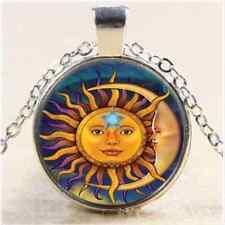 Vintage Sun and Moon Cabochon Tibetan Silver Glass Chain Pendant Necklace
