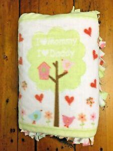 Handmade FLEECE TIE-BLANKET Soft Minky Girl Baby I Love Mommy Daddy Tree 60X50