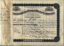 Continental Bank & Trust Stock Certificate Fort Worth Texas 1910's