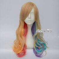 Multi-colors 60cm Women Curly Wig Fancy Dress Party Lolita Cosplay Wig +Free Cap