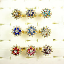 5Pcs 9K Gold Plated Crystal Rhinestone Flower Cocktail Ring Open Size Adjustable