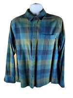 Eddie Bauer Long Sleeve Button Front Plaid Flannel Shirt Mens L